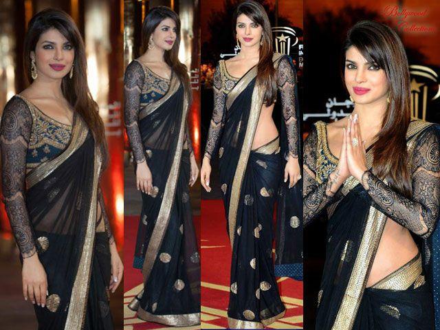 Priyanka Chopra crear sari negro mágico