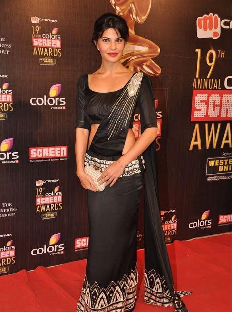 Jacqueline Fernández en sari vestido negro