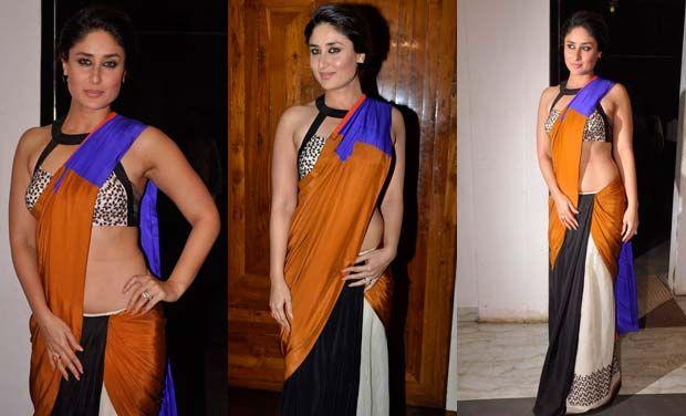 Kareena Kapoor en un sari multicolor