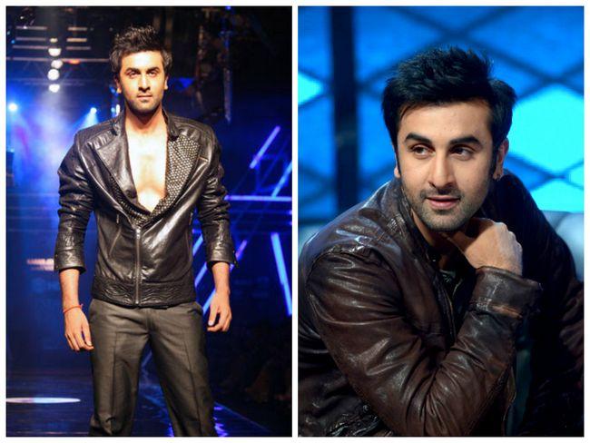Mecedora Ranbir Kapoor en una chaqueta de cuero