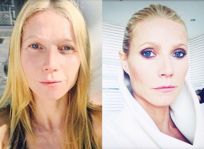 Gwyneth Paltrow ha publicado estos autofotos en Instagram-uno sin maquillaje y maquillaje completo.