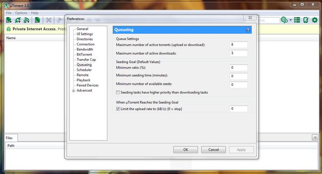 UTorrent detener la siembra después de la descarga